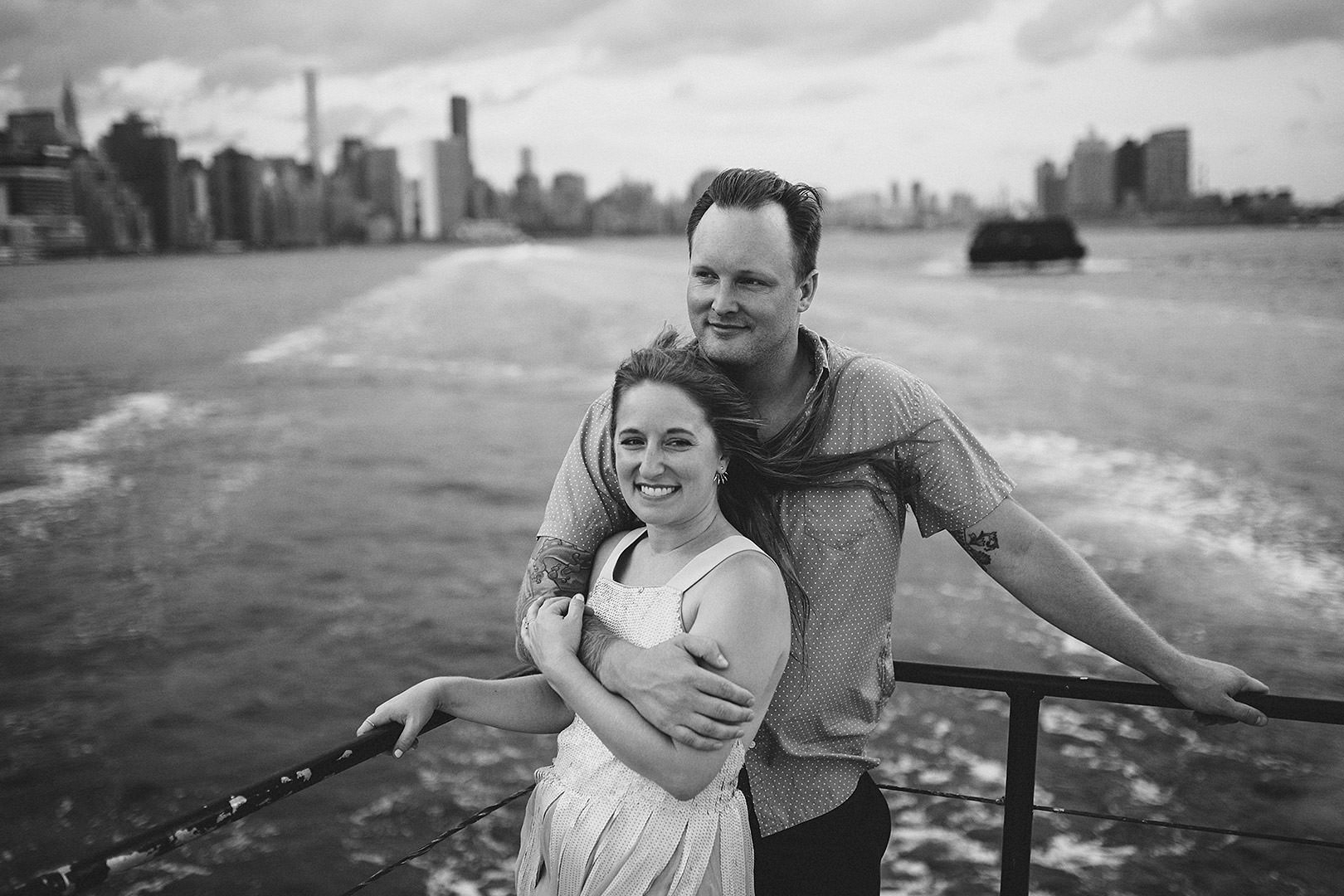 new york city boat engagement session photos