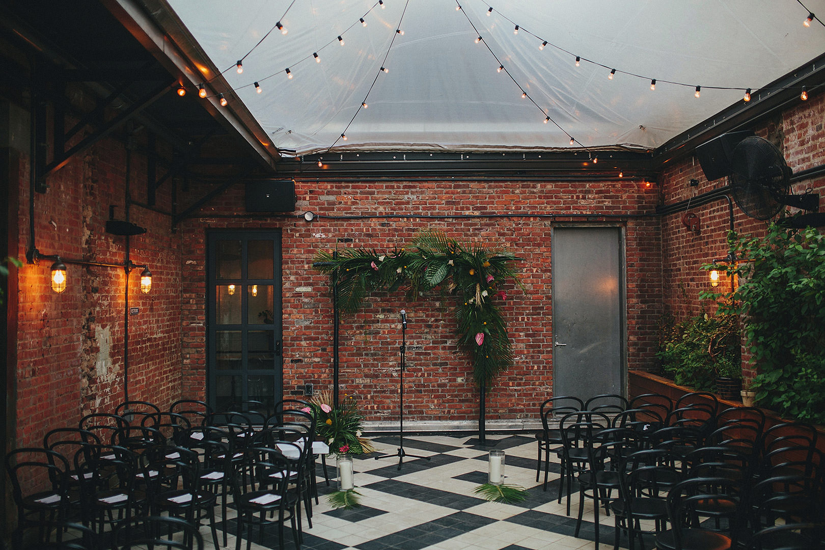 wythe hotel wedding ceremony set up